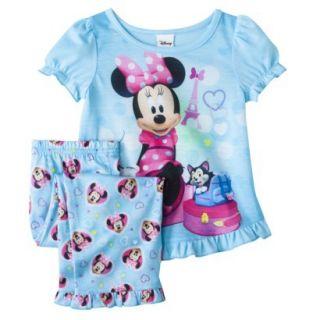 Disney Minnie Mouse Toddler Girls 2 Piece Short Sleeve Pajama Set   Aqua 4T