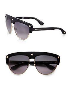 Tom Ford Eyewear Liane Shield Aviator Sunglasses   Black