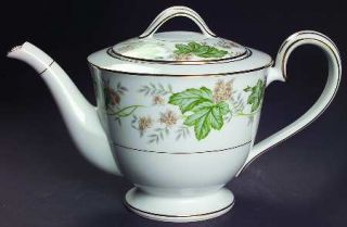 Noritake Daphne Teapot & Lid, Fine China Dinnerware   Tan & White Flowers,Large