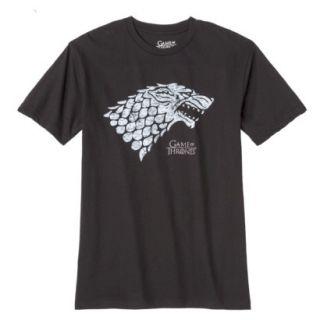Mens Game of Thrones Stark Wolf Tee Shirt   Black L