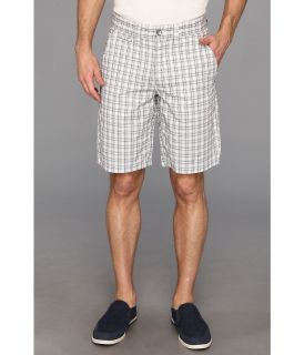 DKNY Jeans Yarn Dyed Check Flat Front Short Mens Shorts (White)
