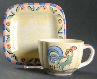 Bella Rooster Flat Cup & Saucer Set, Fine China Dinnerware   Peach&Blue Edge,Gre