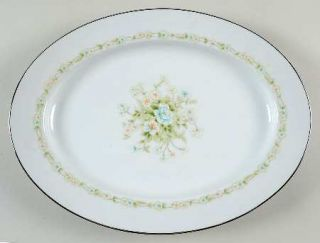 Noritake Poetry 13 Oval Serving Platter, Fine China Dinnerware   Floral Ring, F