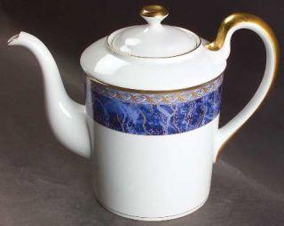 Christian Dior Azure Royale Coffee Pot & Lid, Fine China Dinnerware   Gold Desig