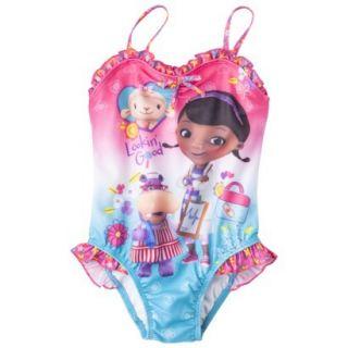 Doc McStuffins Toddler Girls 1 Piece Swimsuit   Pink 4T