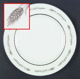 Fine China of Japan Grano Dinner Plate, Fine China Dinnerware   Gold Wheat On Ri