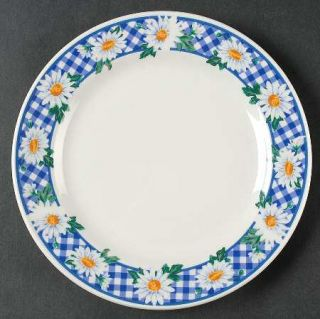 Signature Gingham Daisy Salad Plate, Fine China Dinnerware   Daisies On Blue Gin