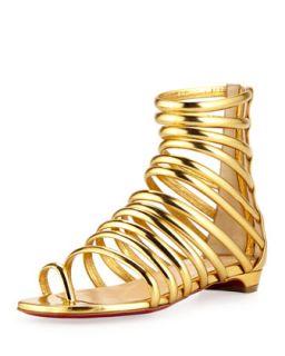Catchetta Metallic Gladiator Sandal, Gold   Christian Louboutin