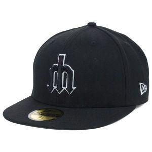 Seattle Mariners New Era MLB Black and White Fashion 59FIFTY Cap