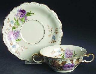 Rosenthal   Continental Daphne (Pompadour) Flat Cream Soup Bowl & Saucer Set, Fi