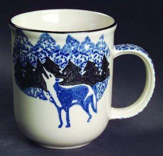 Tienshan Wolf Mug, Fine China Dinnerware   Blue/Black Sponge Wolf&Mountains