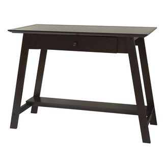 Comfort Products Coublo Collection Writing Style Desk (Dark mocha brownMaterials: MDF, woodFinish: Vinyl laminateDimensions: 43 inches wide x 20 inches deep x 30.5 inches highNumber of shelves: 1Number of drawers/compartments: 1Model: 60 COUB0028 )