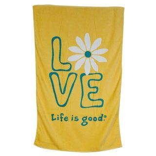 Life Is Good Daisy Love Bath Towel Sunny Yellow