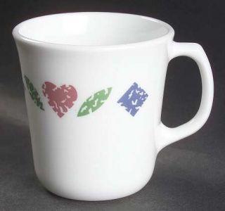 Corning Quilt Mug, Fine China Dinnerware   Corelle, Red Hearts, Blue Diamonds