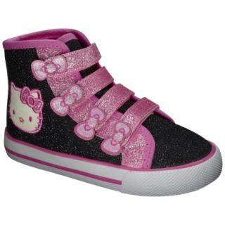 Toddler Girls Hello Kitty High Top Canvas   Black 1