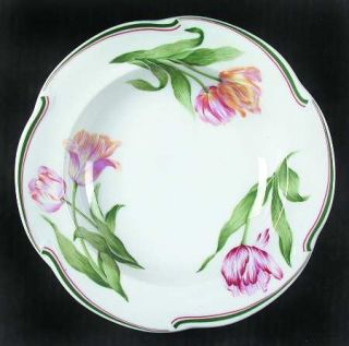 Christian Dior Normandie Rim Soup Bowl, Fine China Dinnerware   Green&Red Bands,