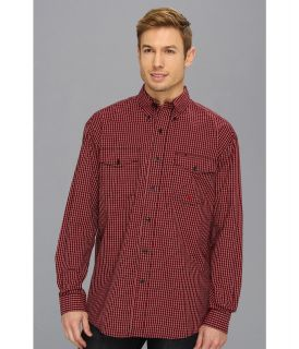 Roper 8761 Veridian Check   Red Mens Long Sleeve Button Up (Red)