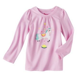 Circo Infant Toddler Girls Long sleeve Carosel Horse Tee   Pink 12 M