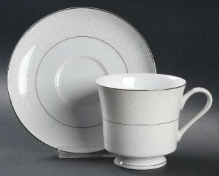 Chadds Ford QueenS Lace Footed Cup & Saucer Set, Fine China Dinnerware   White