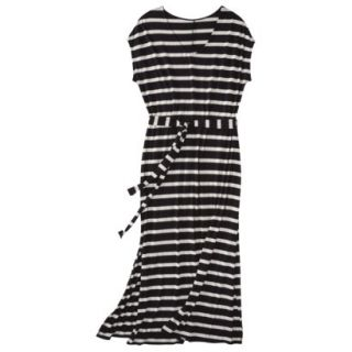 Merona Womens Plus Size Short Sleeve V Neck Maxi Dress   Black/Cream 4