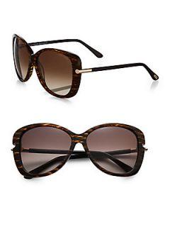 Tom Ford Eyewear Linda Metal Trimmed Square Sunglasses   Brown