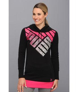 PUMA Logo Graphic Hoodie Womens Long Sleeve Pullover (Black)