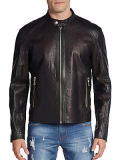 Perforated Leather Moto Jacket   Black