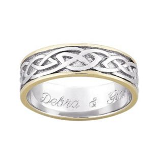 Gold Over Sterling Silver Personalized Two Tone Engraved Celtic Wedding Band   9