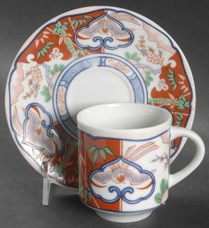Georges Briard Heirloom Flat Cup & Saucer Set, Fine China Dinnerware   Orange Fl