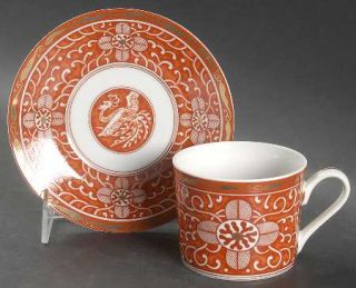 Georges Briard Imperial Brocade Flat Cup & Saucer Set, Fine China Dinnerware   R