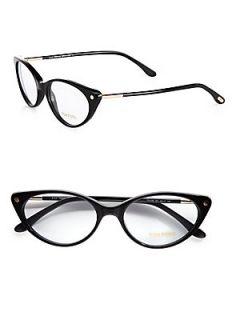 Tom Ford Eyewear Modern Cats Eye Plastic Eyeglasses   Black