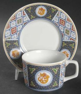 Georges Briard Grand Kabuki Flat Cup & Saucer Set, Fine China Dinnerware   Orang