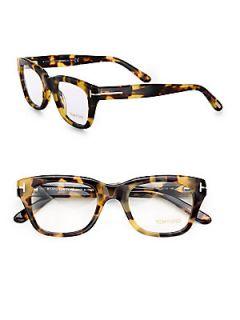 Tom Ford Eyewear Full Rim Square Wayfarer Inspired Plastic Eyeglasses   Havana