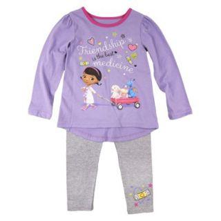 Disney Infant Toddler Girls Doc McStuffins Top and Bottom Set   Purple 4T