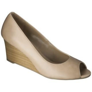 Womens Merona Noele Peep Toe Wedge Pump   Natural 6