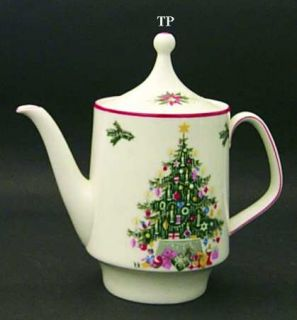 Schumann   Bavaria Noel Teapot & Lid, Fine China Dinnerware   Christmas Tree Cen