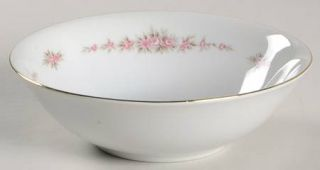 Norleans Marie Coupe Cereal Bowl, Fine China Dinnerware   Pink Roses, Gray    Le