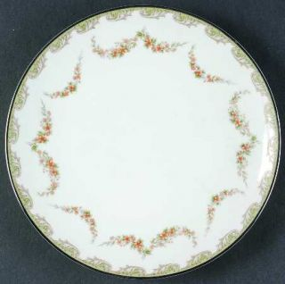 Noritake Denise Salad Plate, Fine China Dinnerware   Gray Scrolls, Brown Flower