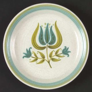 Franciscan Tulip Time Salad Plate, Fine China Dinnerware   Blue/Green Tulip, Blu