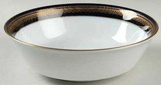 Noritake Vienna 9 Round Vegetable Bowl, Fine China Dinnerware   Blue Band, Gold
