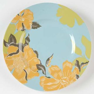 222 Fifth (PTS) Maya Salad Plate, Fine China Dinnerware   Blue Or Taupe Rim,Yell
