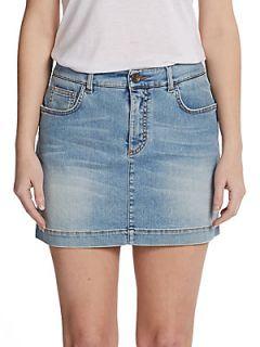 Faded Denim Mini Skirt   Blue
