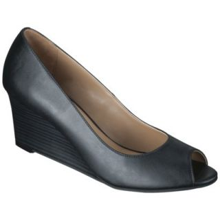 Womens Merona Noele Peep Toe Wedge Pump   Black 9