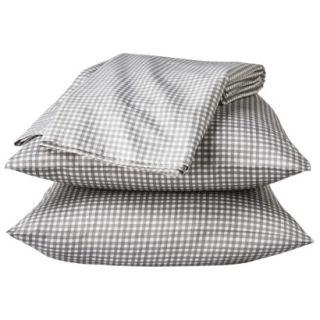 Threshold 325 Thread Count Organic Cotton Sheet Set   Gray Check (Queen)