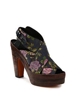 Sloane Floral Print Suede Platform Sandals   Navy