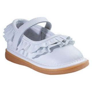 Toddler Girls Wee Squeak Ruffle Genuine Leather Mary Jane Shoes   White 3