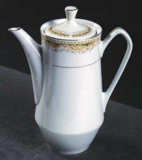 Signature Queen Anne Coffee Pot & Lid, Fine China Dinnerware   Tan Scrolls, Gray