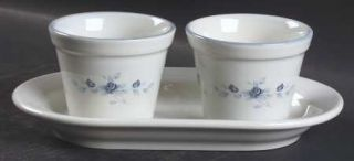 Pfaltzgraff Poetry Glossy Herb Pots with Tray (2 Pots and 1 Tray), Fine China Di