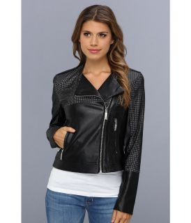 Vince Camuto Perforated Faux Leather Moto Jacket F8191 Womens Coat (Black)