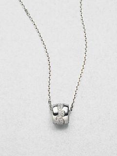 Georg Jensen Diamond and 18K White Gold Necklace   Gold